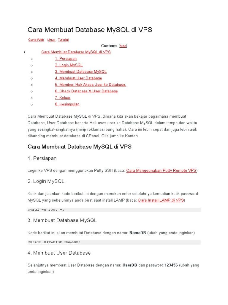 Cara Membuat Database Mysql Di Vps