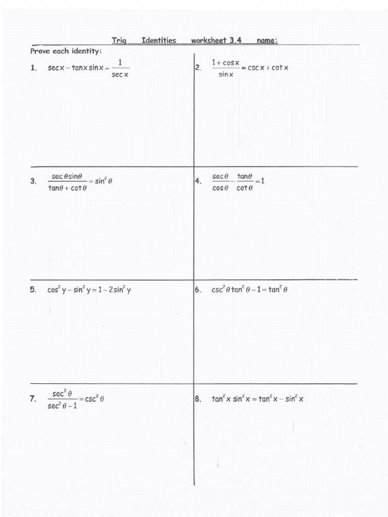 trig identities worksheet with answers 2 – Trig Identity Worksheet