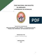 Relacion Entre Clima Laboral y La Satisfaccion Del Trabajo Del Personal. en Financiera Edyficar.