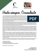 Mensaje de condolencias de la Coordinadora de Solidaridad con Cuba en Madrid