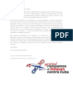 Mensaje de condolencias de la campaña ¡YA ES HORA!  ROMPAMOS EL BLOQUEO CONTRA CUBA en España