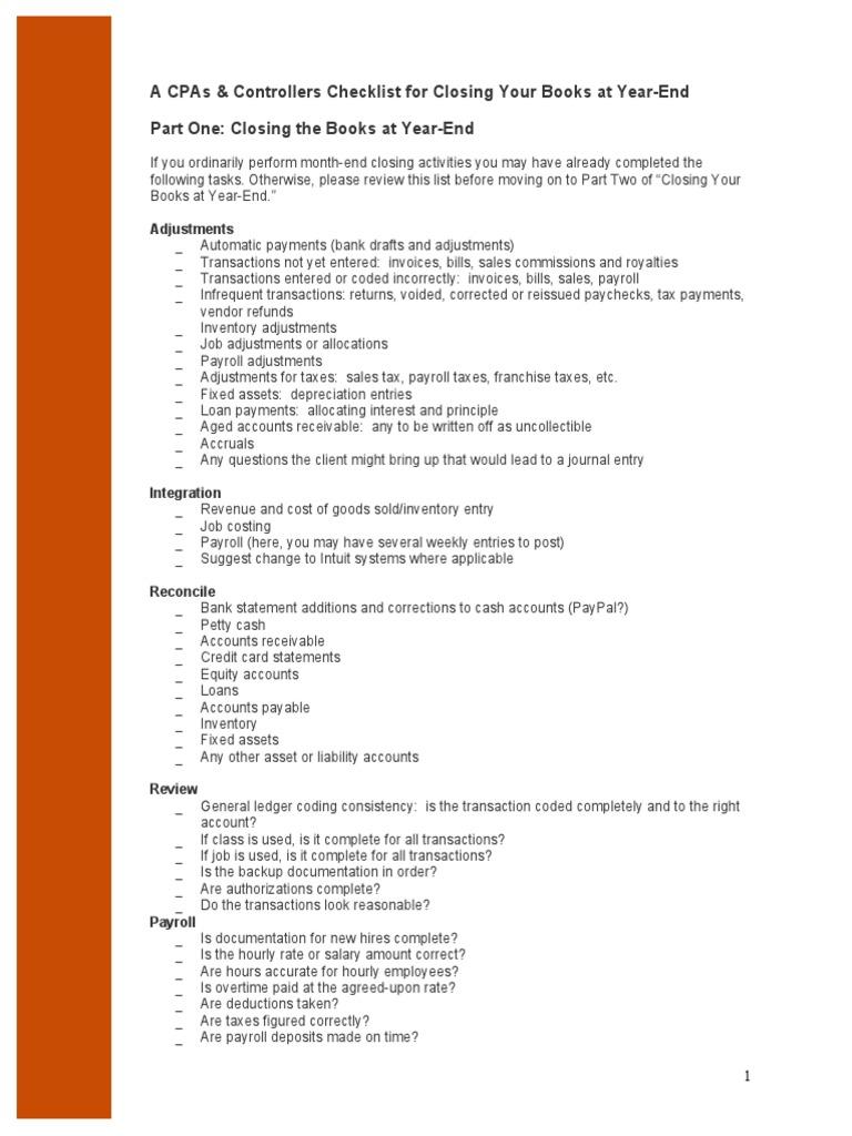 Controller Checklist | Payroll | Expense