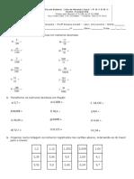 Avaliação de Matemática 4º Bim Números Decimais