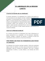 Sindicatos Laborales en La Region Loreto