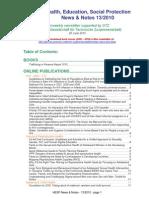 Health, Education, Social Protection News & Notes 13/2010