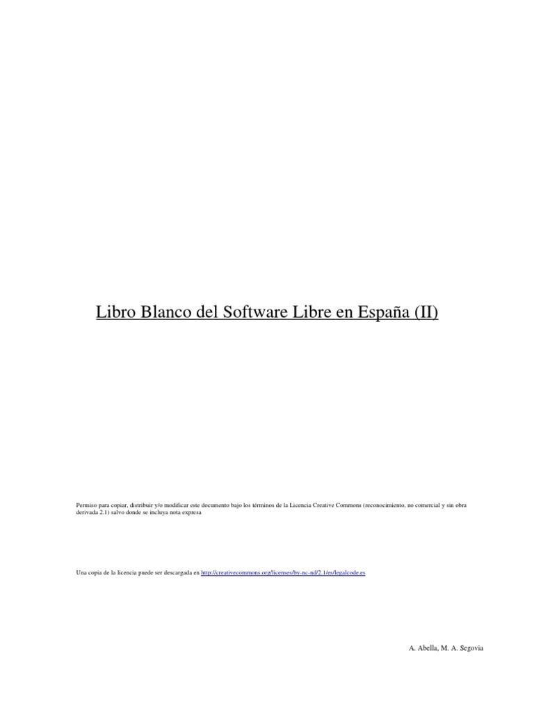 Libro Blanco Del Software Libre En España Ii Software
