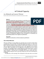 BOLTANSKI. the Sociology of Critical Capacity.