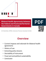 Bilateral Health Agreements between the Federal and Provincial/Territorial Governments in Canada