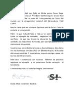 Carta de condolencias del Casal de Amistad con Cuba de Lleida-Catalunya