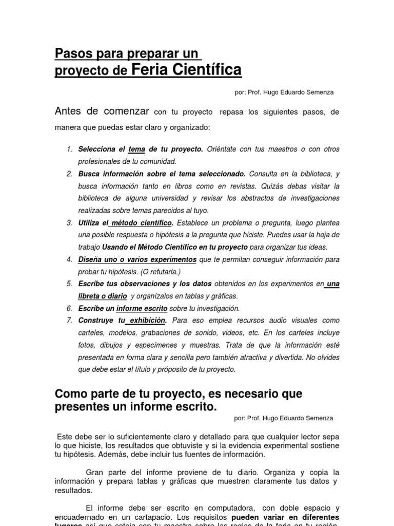 Guia Para Proyectos de Feria de Ciencia