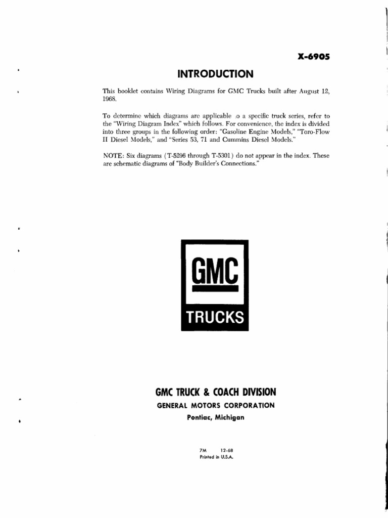 1968 Gmc Truck Wiring Diagram Library 69 Pickup Diagrams X6905 1969 After August 12