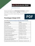 Feestdagen Belgie - Exacte datums op kalender