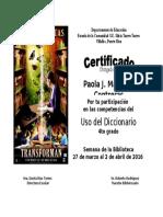 Certificado Semana Biblioteca 2016