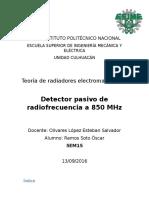 Detector Pasivo de Radiofrecuencia a 850 MHz