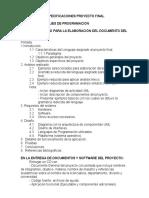 Especificaciones Entrega Proyecto Final Lp