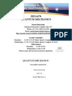 Quantum Mechanics Lecture 1