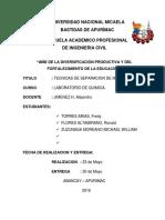 Separacion de Mesclas Informe 2 de Quimica 2016