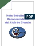 Nota Solicitud Reconocimiento Club de Ciencia