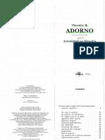 Adorno, Theodor. Actualidad de La Filosofia, Altaya