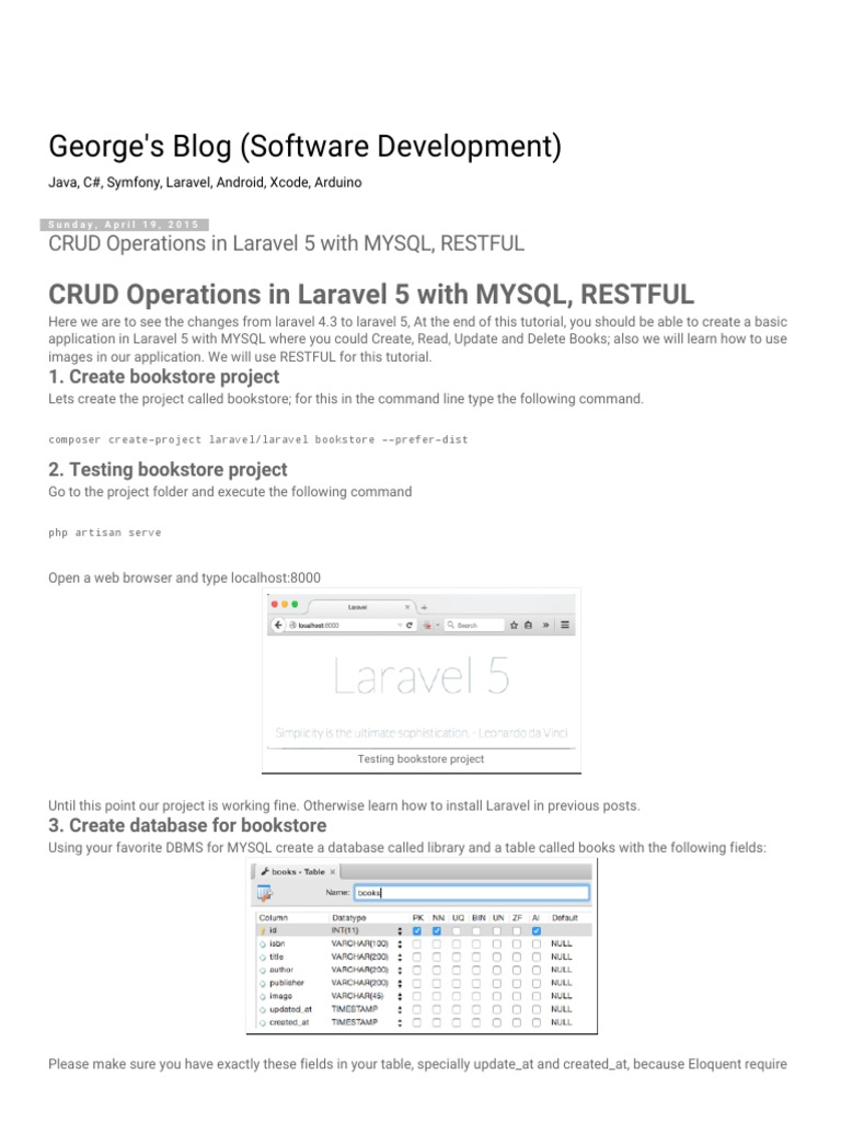 CRUD Operations in Laravel 5 With MYSQL, RESTFUL | Representational