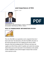 Role Impact and Importance of MIS