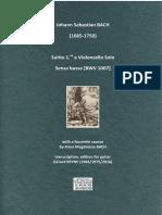 BACH, Johann Sebastian • Suitte 1.re a Violoncello Solo Senza Basso [BWV 1007] (ed. for guitar Gérard REYNE) (2016) (facsimile and score)