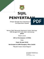 Sijil Penyertaan Sukan Kali Ke-17 Smk Bongkol 2016