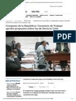 Congreso de La República Aprobó Propuesta Sobre Ley de Servicio Civil
