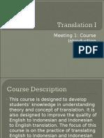 Translation I - Meeting 1