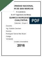 Informe Cationes II Grupo