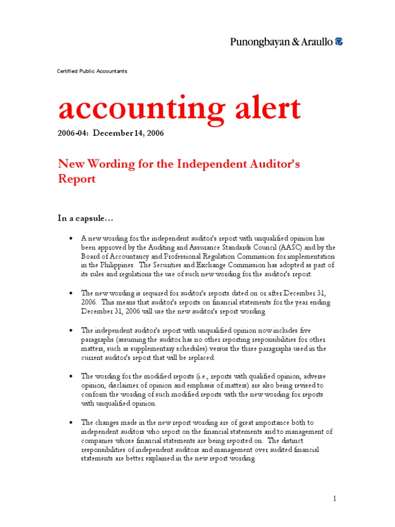 Auditors report auditors report financial audit altavistaventures Choice Image