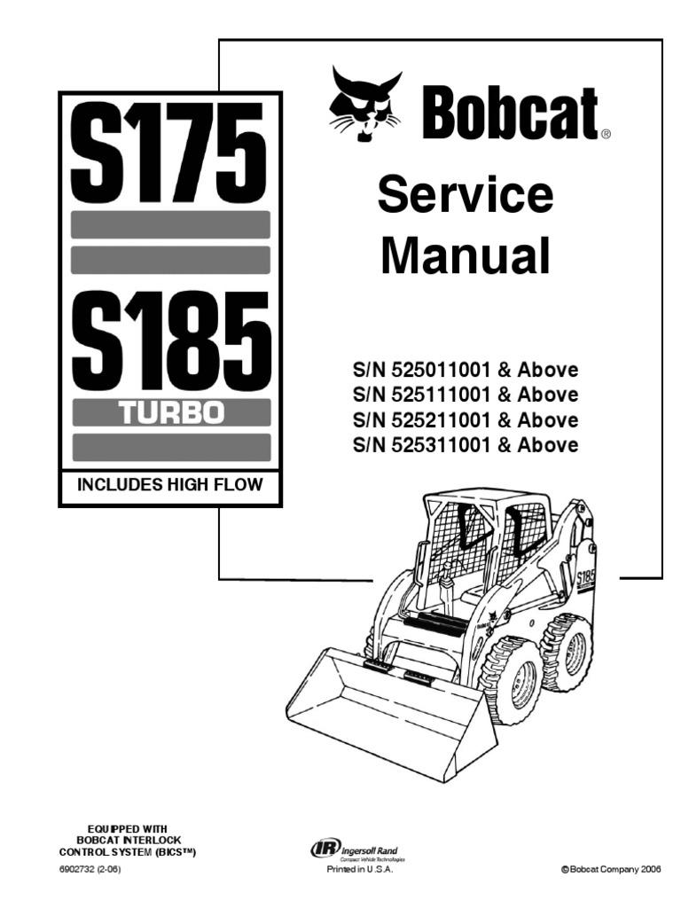 Pdf Bobcat S175 S185 Service Repair Manual Sn 525011001 525111001