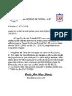 2ª COPA SERTÃODE FUTSAL SUB20 - INSCRIÇÃO