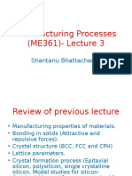 Manufacturing Processes (ME361) Lecture 3 and 4