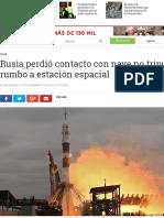Rusia Perdió Contacto Con Nave No Tripulada Rumbo a Estación Espacial