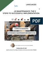 5 Pasos Para Implementar El Mantenimiento Autónomo