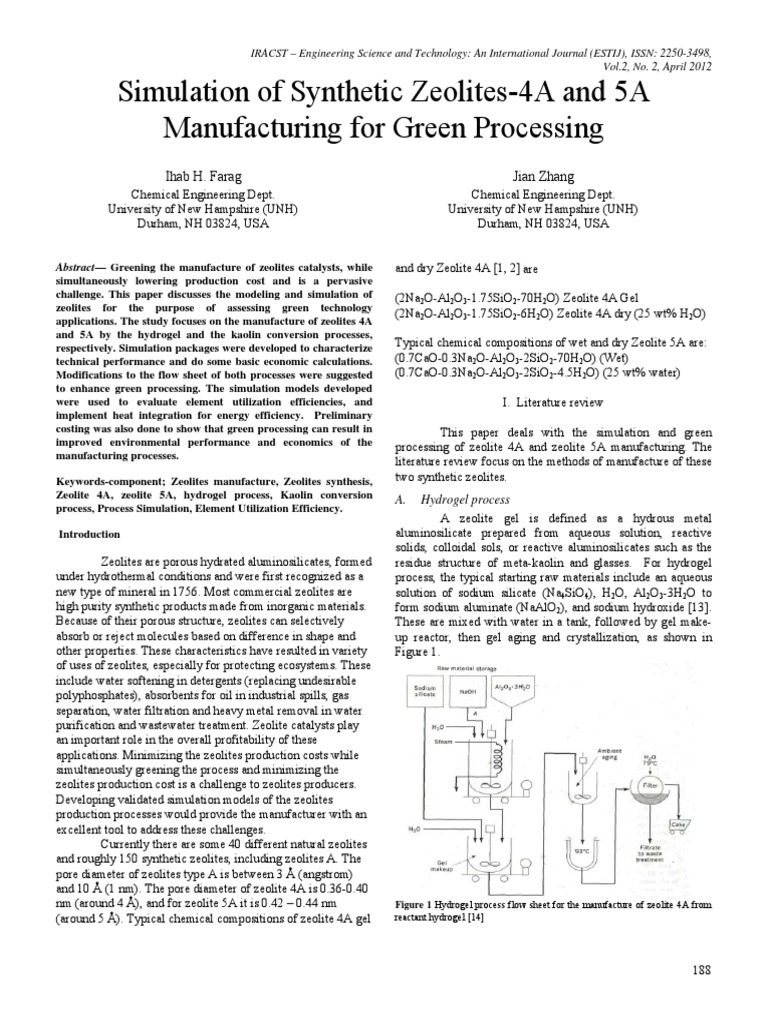 2vol2no2 Zeolite Hydrogen Process Flow Diagram