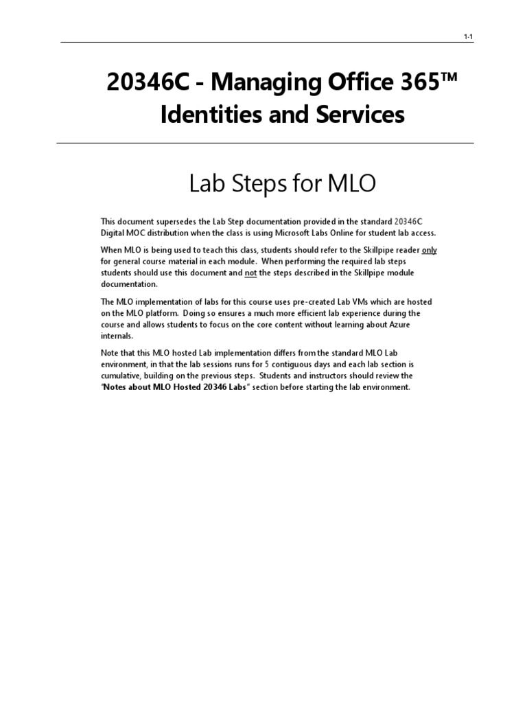 Managing O365 Identities and Services -20346TK-MOC-Update | Office