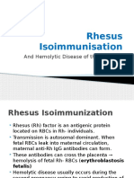 Rhesus Isoimmunisation & Haemolytic Disease of the Newborn Brief