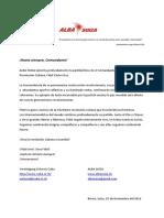 Mensaje de condolencias conjunto de la Asociación Suiza-Cuba / Alba Suiza