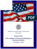 Advisory committee report on private immigration detention centers