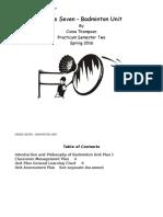 badminton unit plan