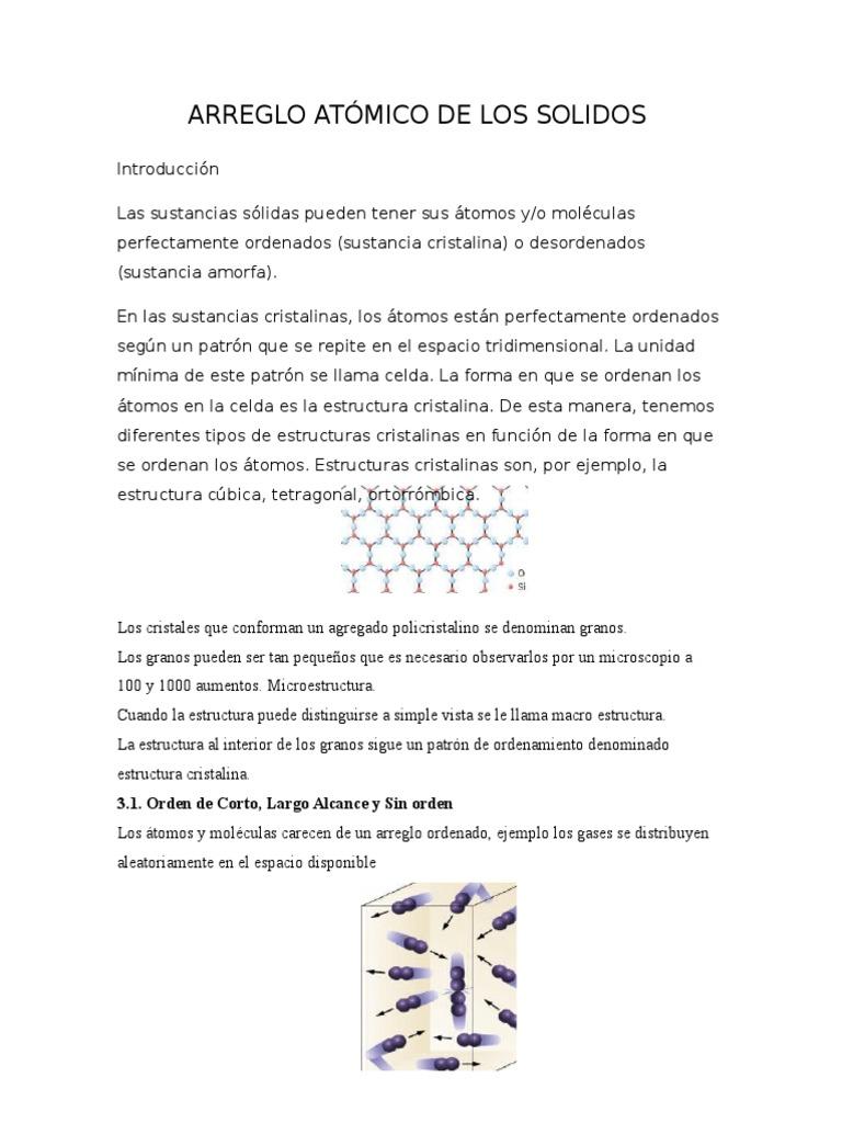 Ordenamiento Tomicos De Los Solidos