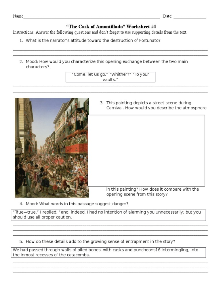 The Cask of Amontillado  Close Reading Worksheet   Key by moreover  moreover  besides The Cask of Amontillado Vocab Worksheet   KEY  40 words    TpT likewise identifying conflict in a story worksheets moreover The Cask Of Amontillado Worksheet   Briefencounters together with  together with  furthermore  besides  also Thesis for the cask of amontillado yahoo answers Coursework S le also Edgar Allan Poe Worksheet  4 besides The Cask Of Amontillado Vocabulary Worksheet Answers   Free also The Cask Of Amontillado Vocabulary Worksheet Answers New Holy Family together with The Cask Of Amontillado Worksheet Inspirational the White Umbrella furthermore The Cask Of Amontillado Vocabulary Worksheet Answers. on cask of amontillado worksheet answers