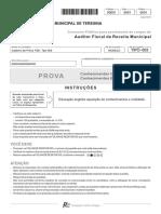 Fcc 2016 Prefeitura de Teresina Pi Auditor Fiscal Da Receita Municipal Prova