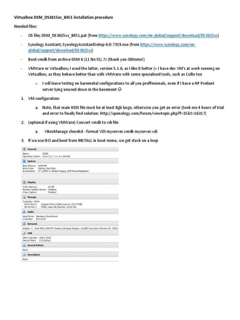 Virtualbox DSM_DS3615xs_8451 installation procedure