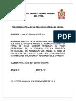 Act. 4 Analisis de La Responsabilidad Profesional Del Docente Frente Al Trabajo Escolar y Como Debe Articularlo