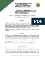 Taller Prueba Tension Materiales Industriales I – 3B – Grupo 04 – Mendoza – Clavijo – Reyes.