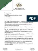 Fremantle Australia Day letter to Alex Hawke