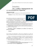 Psicoanálisis y Política, Patologizacion de La Infancia